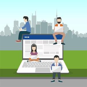 Gráfico de jóvenes trabajando online